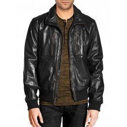 Black Bomber Leather Jacket with Zip Chest Pockets