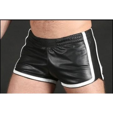 Black Leather Athletic Shorts for Men
