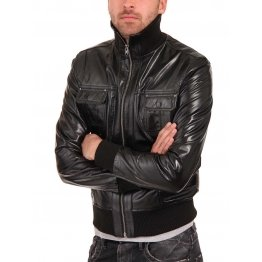 Black Leather Jacket Mens Motorcycle Bomber