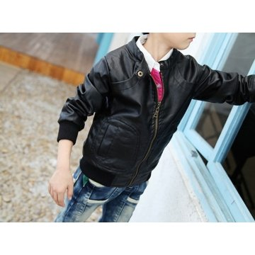Black Leather Jacket for Toddler Boy
