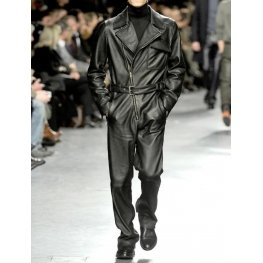 Black Leather Romper For Men