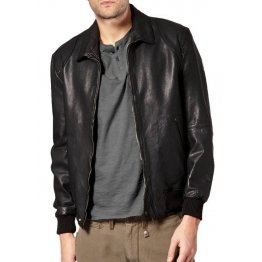 Branded Men Black Bomber Jacket with Ribbed Trim