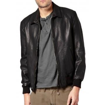 Branded Men Black Bomber Jacket with Ribbed Trim