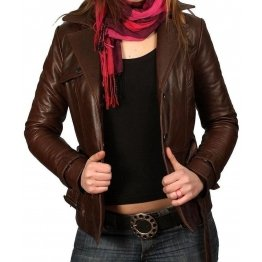 Brown Leather Jacket Slim Fit for Women