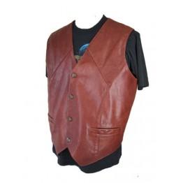 Classic Biker Brown Leather Vest for Men