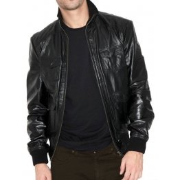 Classic Black Mens Aviator Bomber Jacket