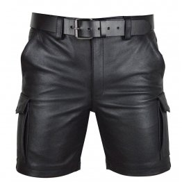 Classic Leather Cargo Shorts for Men