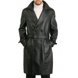 Classic Men's Genuine Leather Trench Coat