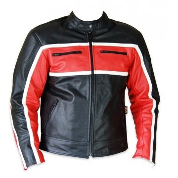 Classic Mens Red Leather Motorcycle Style Jacket