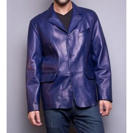 Classic Style Mens Blue Leather Jacket Blazer