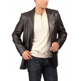 Classic Style Mens Black Casual Leather Blazer Coat