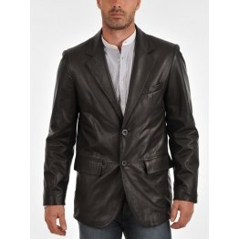 Classic Two Button Casual Leather Blazer Coat for Men