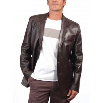 Coat Style Men's Dark Brown Leather Blazer