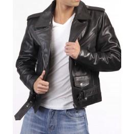 Custom Made Black Leather Biker Jacket for Men