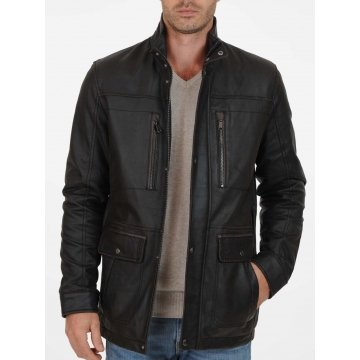 Elegant Black Men's Leather Top Coat
