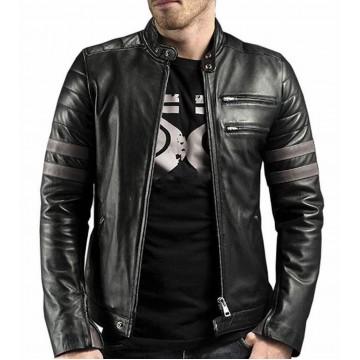Genuine Black Fitted Motorbike Jacket for Men