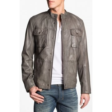 High Quality Mens Grey Leather Jacket