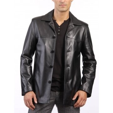 High Quality Soft Lambskin Mens Black Leather Jacket
