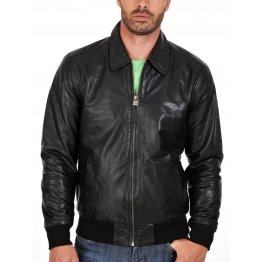Lightweight Zipped Black Leather Bomber for Men