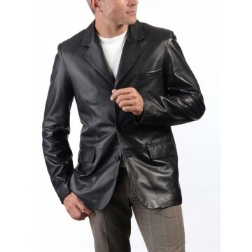 Men's Black Leather Blazer Jacket