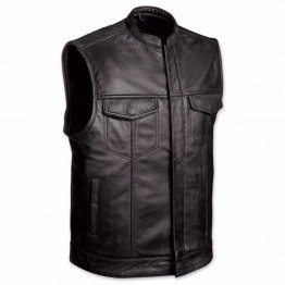 Mens Black Leather Motorcycle Club Vest
