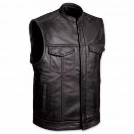 Mens Black Leather Motorcycle Club Vest
