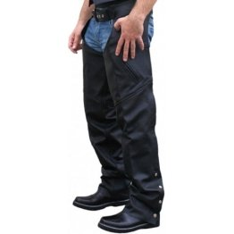 Mens Black Leather Motorcycle Riding Chaps