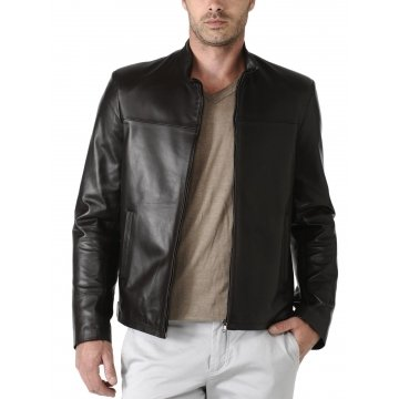 Mens Black Pure Lambskin Leather Jacket