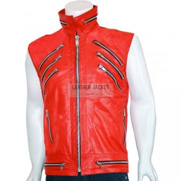Mens Custom Made Motorcycle Red Leather Vest