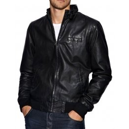Mens Designer Cool Leather Bomber