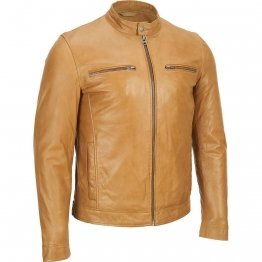 Mens Camel Brown Leather Jacket