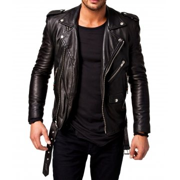 Mens Full Sleeve Genuine Lambskin Leather Riding Jacket