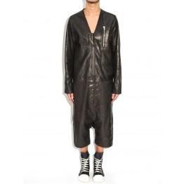 Mens Genuine Lambskin Black Leather Jumpsuit