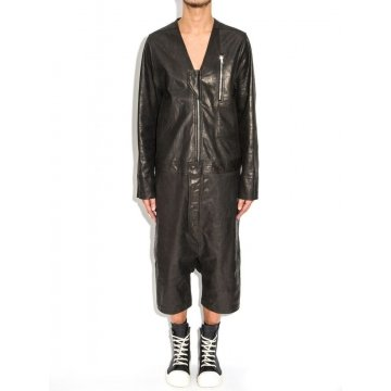 Mens Genuine Lambskin Black Leather Jumpsuit