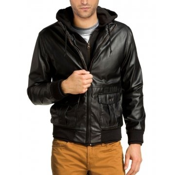 Mens Hooded Real Leather Bomber Jacket