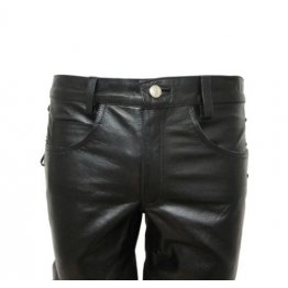 Mens Jeans Style Black Leather Short