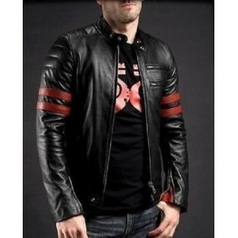 Mens Racer Black Genuine Vintage Style Leather Jacket