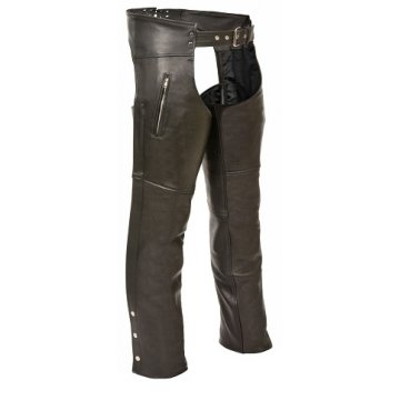 Mens Side Pockets Black Leather Chaps for Motorcycle Riding