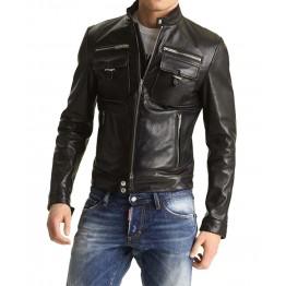 Men's Slim Fit Leather Motorcycle Jacket