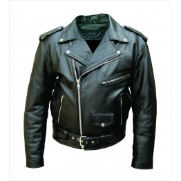 Mens Vintage Black Leather Bike Jacket