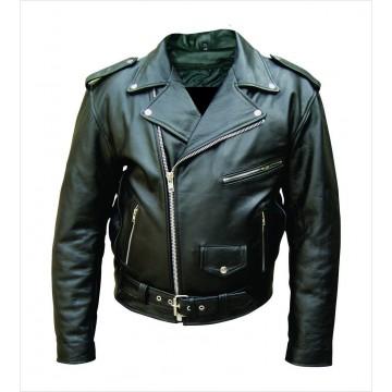Mens Vintage Black Leather Bike Jacket