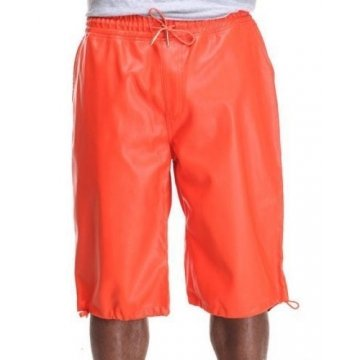 Mens vintage Style Orange Leather Shorts