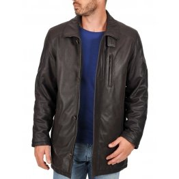 New Genuine Mens Black Leather Sport Coat