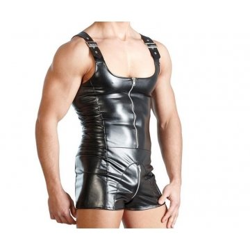 Pure High Quality Black Leather Romper for Men