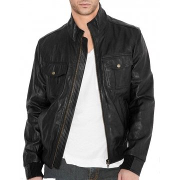 Simple Fitted Bomber Style Black Leather Jacket for Men