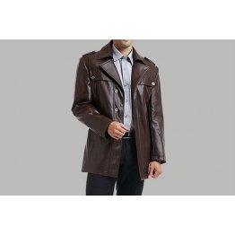 Single Breasted Mens Brown Motorcycle Leather Coat