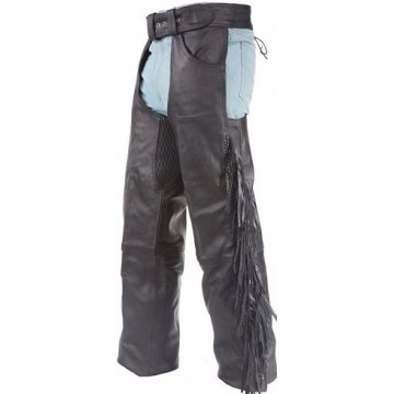 Soft Genuine Leather Motorcycle Riding Chaps for Men