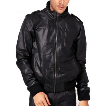 Soft Lambskin Front Zipped Bomber Jacket Mens Fashion