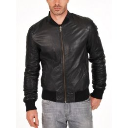 Soft Sheepskin Genuine Quilted Bomber Jacket for Mens