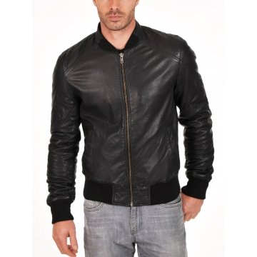 Soft Lambskin Genuine Quilted Bomber Jacket for Mens